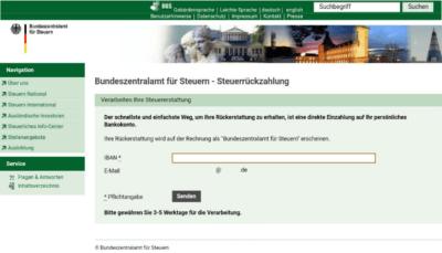 Phishing-Welle: Gefälschte Website im Namen des Bundeszentralamts für Steuern