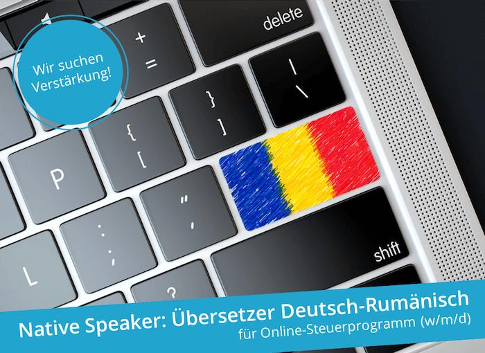 Übersetzer Deutsch-Rumänisch für Online-Steuerprogramm (w/m/d)